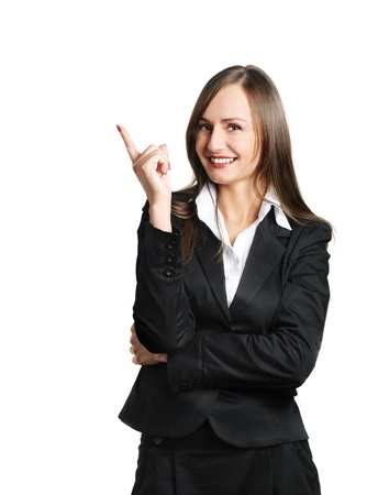 woman pointing: Smiling business woman with an idea on her mind