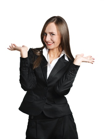 Exciting business woman isolated over white photo