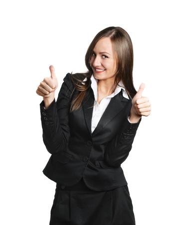secretaria sexy: Mujer de negocios feliz aislado m�s de blanco