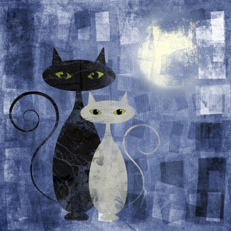 oil on canvas: Black and white cat on blue grunge canvas