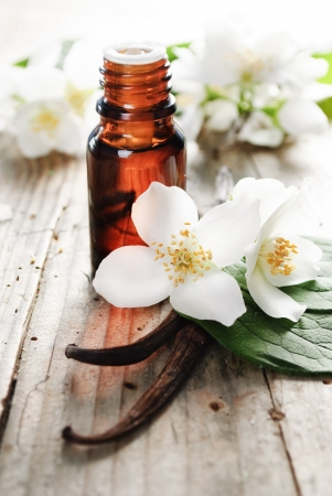 aromatherapy: Essential oil with jasmine flower and vanilla