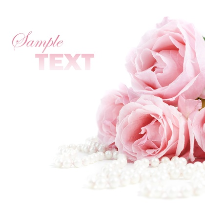 pink pearl: Beautiful pink roses and white pearls