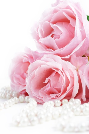 Beautiful pink roses and white pearls photo