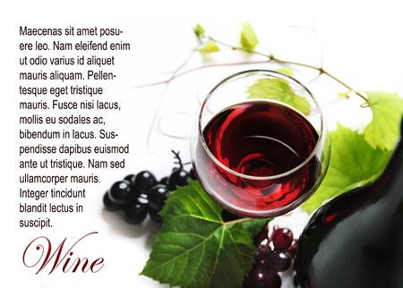 Glass of red wine on white background