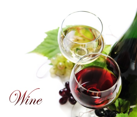 Glass of red and white wine on white background photo