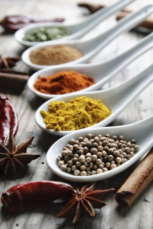 Various of spices on rustick wooden table Stockfoto