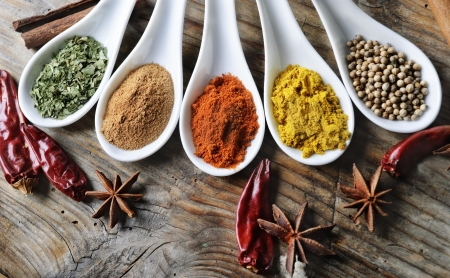 aphrodisiac: Various of spices on rustick wooden table Stock Photo