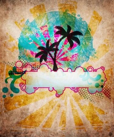 Summer beach design in grunge style Фото со стока