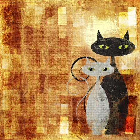Black and white cat on orange grunge canvas