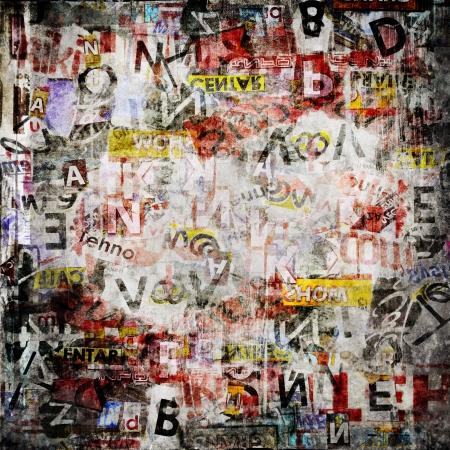 wand graffiti: Grunge strukturierten Hintergrund mit zerrissenen alten Zeitungen