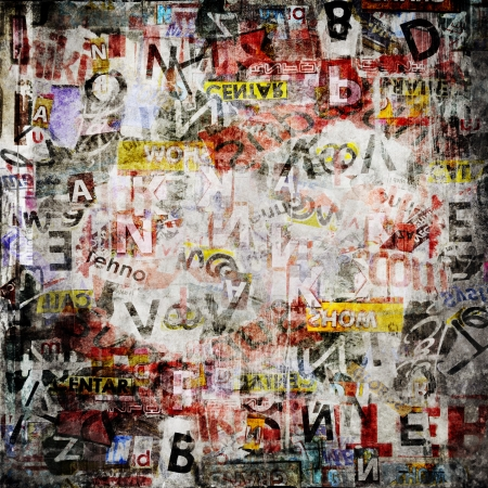 graffiti art: Grunge textured background with old torn newspapers Stock Photo