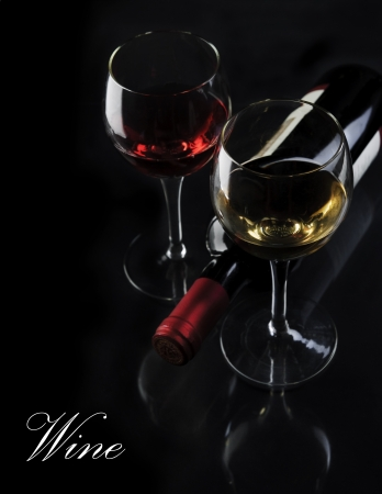 dark glasses: Glass of red and white wine on black background Stock Photo