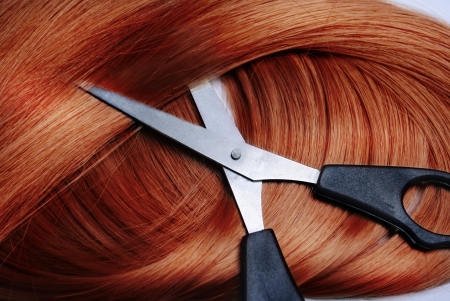 Long healthy red hair and professional scissors photo