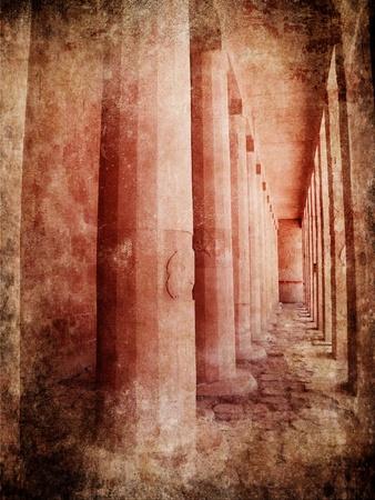 Image of Hatshepsut temple in grunge style