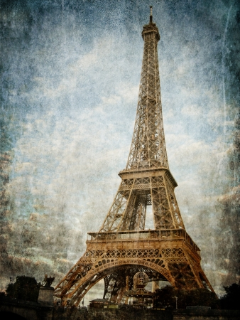 Vintage images of Eiffel Tower