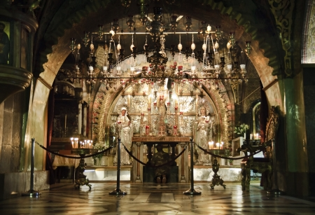 bible altar: Golgotha- Calvary- old town of Jerusalem, Israel