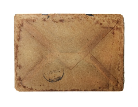 Vintage envelope isolated over white photo