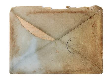 vintage envelope: Sobre de la vendimia aislado m�s de blanco