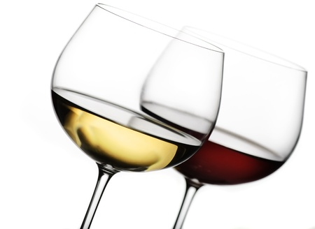 burgundy drink glass: Two glasses of wine on white background
