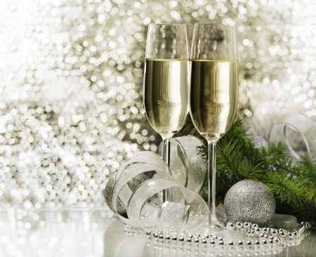 new love: Two champagne glasses with christmas decoration