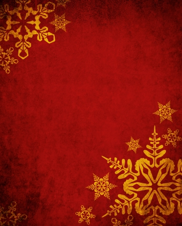 Christmas red background with golden snowflakes Stock Photo