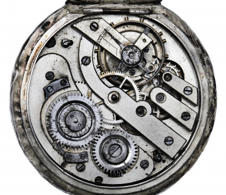 Vintage pocketwatch mechanism closeup