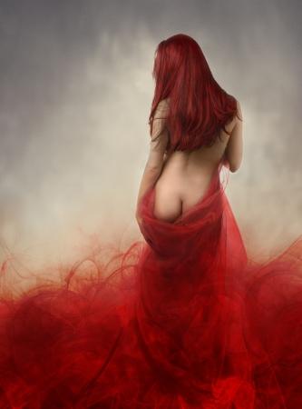 sexy fille nue: Femme en rouge