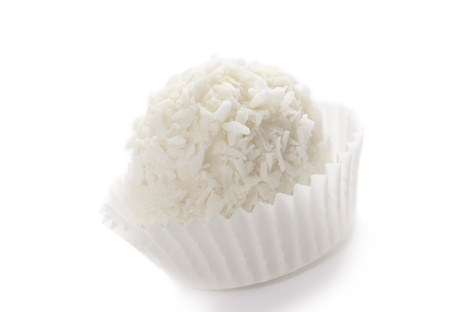 Coconut cookies on white background photo