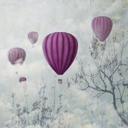 landscape painting: Hot air balloons in the clouds Stock Photo