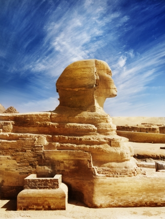 Great Sphinx of Egypt, ancient architecture Stock Photo