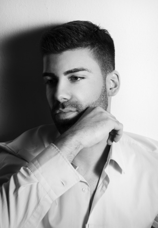 Black and white portrait of handsome man photo