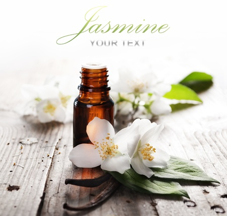 beauty in nature: Essential oil with jasmine flower and vanilla