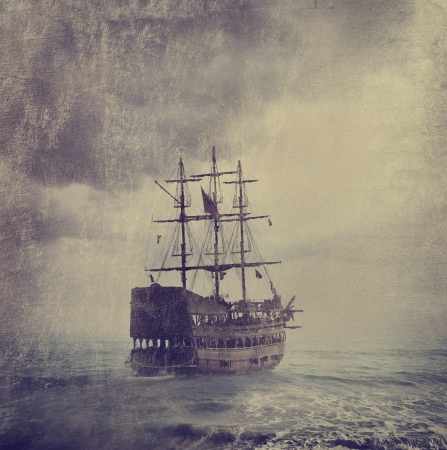 fantasy art: Old pirate ship in the sea. Texture added.