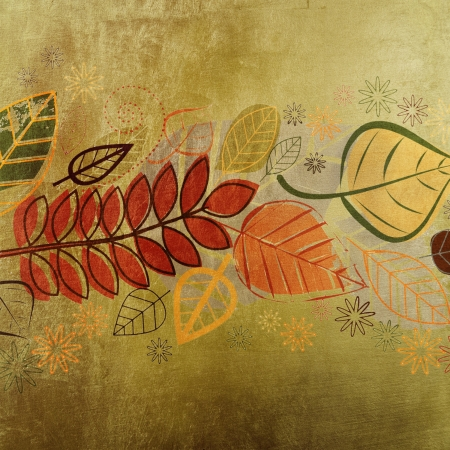 Autumn leaves design on golden texture photo