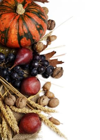 Осень концепции с сезонными фруктами и vagetables Фото со стока