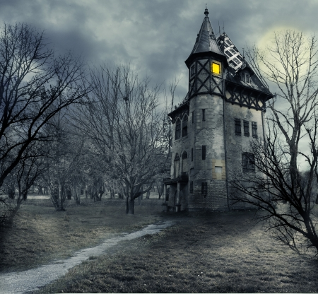 mystery woods: Halloween design with haunted house Stock Photo