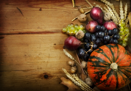 Autumn concept with seasonal fruits and vegetables photo