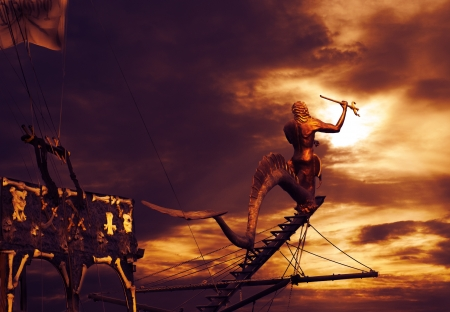 poseidon: Pirate ship sailing in sunset Stock Photo