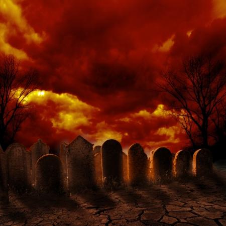 燃える空に不気味な墓地