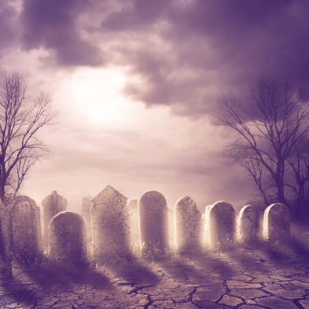 Spooky graveyard and moonlight photo
