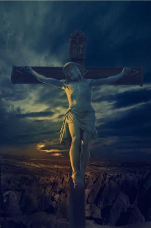 Statue of Jesus Christ at sunset photo