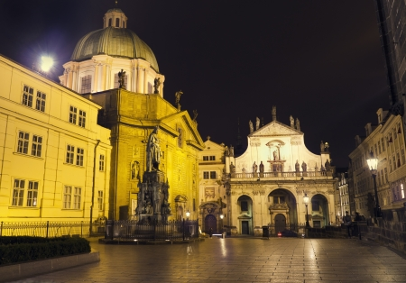 Statue of Charles IV at night, Prague, Czech Republic  photo