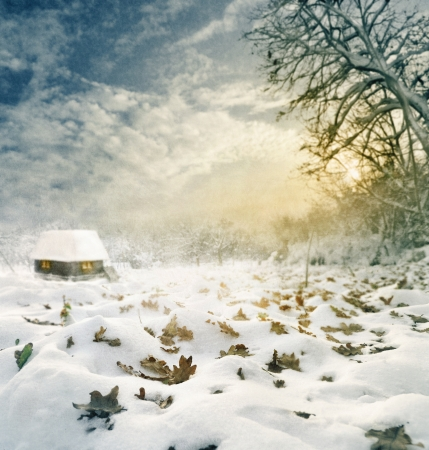 Idylic winter house at sunset  Texture added  photo