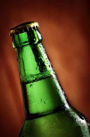 Green beer bottle close up Stock Photo - 25309719