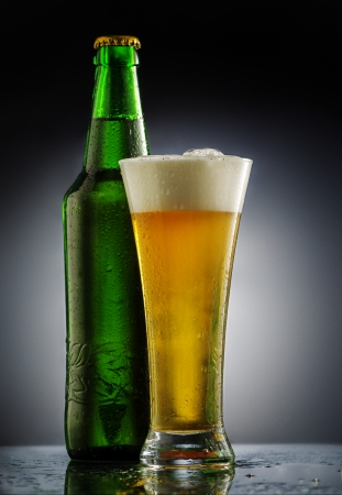 Beer glass in forn of black background Stock Photo - 25311207