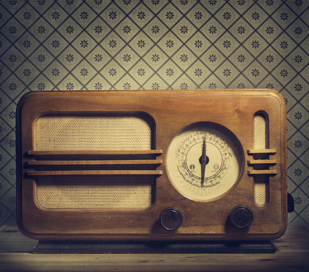 vintage music background: Antique radio on retro background