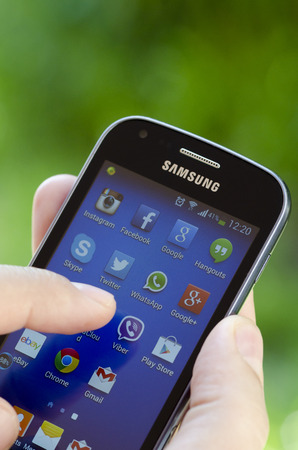 samsung galaxy:  Samsung Galaxy Trend showing applications Instagram, Facebook, Google, Skype, Twitter, YouTube etc  Editorial