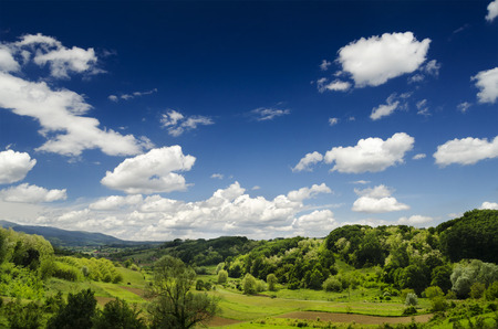 Idyllic landscape with blue sky and green fields
