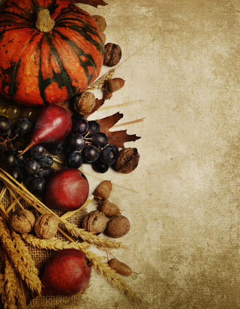 Autumn concept with seasonal fruits and vagetables photo