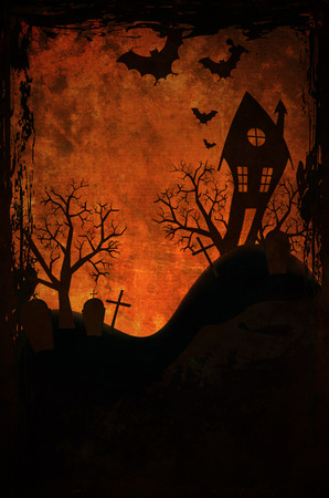 hunted: Halloween design with hunted house on graveyard Stock Photo